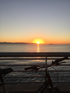 Sunrise on a morning bike ride, looking at the SF Bay.